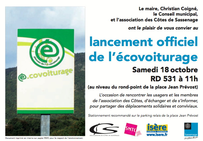 Invitation inauguration ecovoiturage